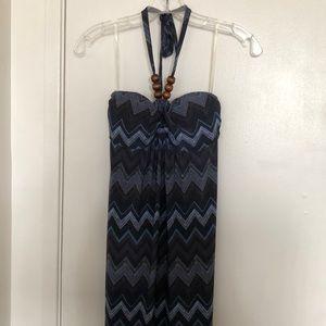NWOT Chevon Patterned Halter Style Maxi Dress